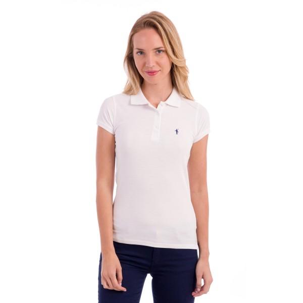 Woman Short Sleeve Polo Shirt - weiß - L