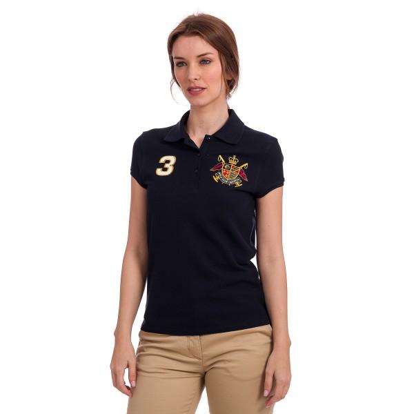 Woman Short Sleeve Polo Shirt - navy - XL