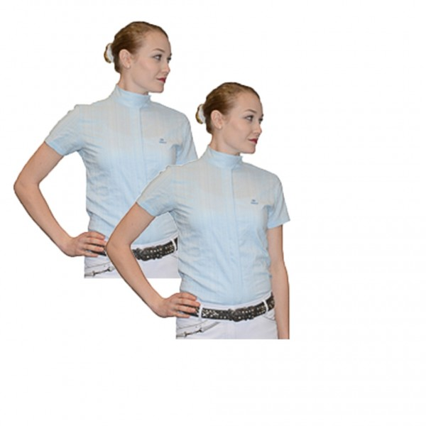 2er Set Kinder Turnierbluse kurzarm - hellblau mit weißen Nadelstreifen