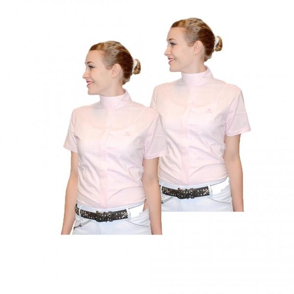 2er Set Kinder Turnierbluse kurzarm - rosa mit weißen Nadelstreifen