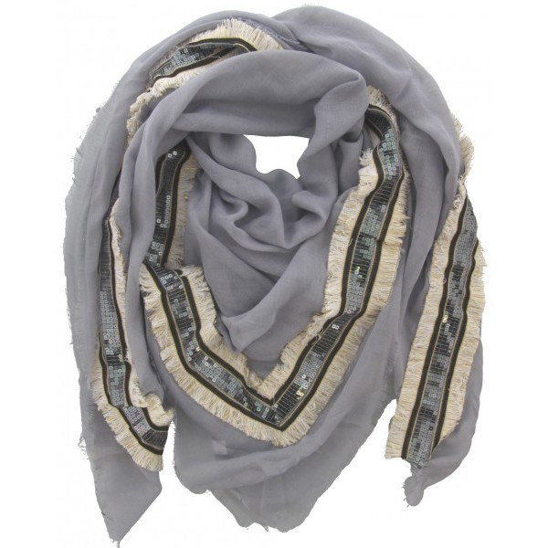 Schal mit Pailletten - grau