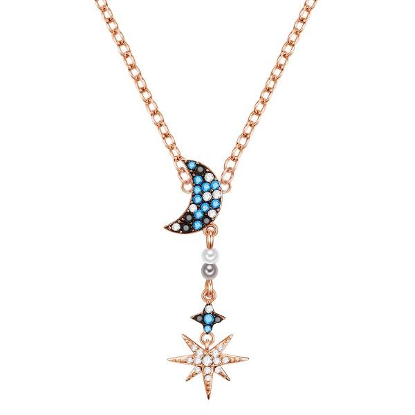 Y-Kette Mond und Stern mit Swarovski® - rosévergoldet