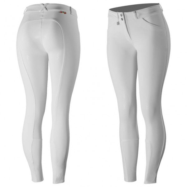Grand Prix Damen Silikon Grip Vollbesatzreithose - white - 36, 42