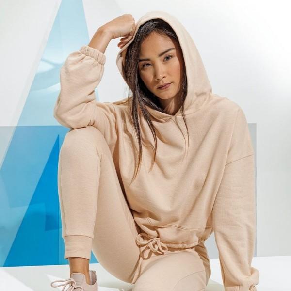 Damen Cropped Oversized Hoodie - nude -L-XL